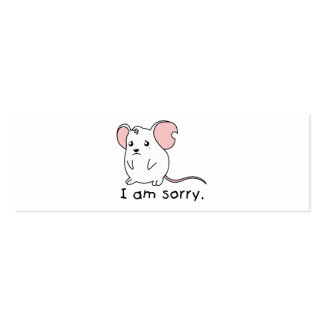 I am Sorry Crying Weeping White Mouse Pillow Mugs Pack Of Skinny Business Cards