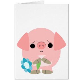 """I am sorry"" Cute Cartoon Piglet Greeting Card"