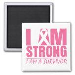 I am Strong - I am a Survivor - Breast Cancer Square Magnet