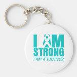 I am Strong - I am a Survivor - Ovarian Cancer Basic Round Button Key Ring