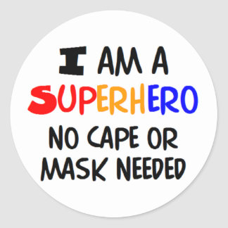 I am superhero round stickers
