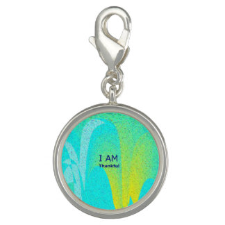 """""""I AM Thankful"""" Round Charm, Silver Plated"""