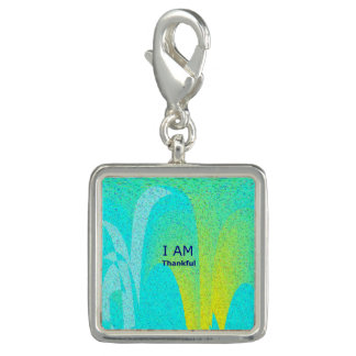"""""""I AM Thankful"""" Square Charm, Silver Plated"""