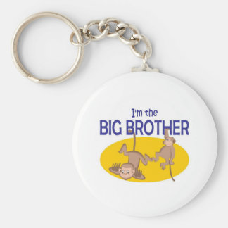 I am the big brother monkey basic round button key ring