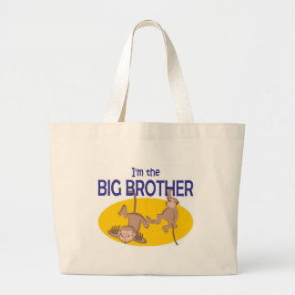 I am the big brother monkey large tote bag