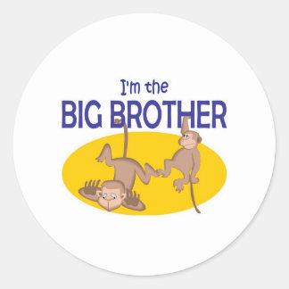 I am the big brother monkey round sticker