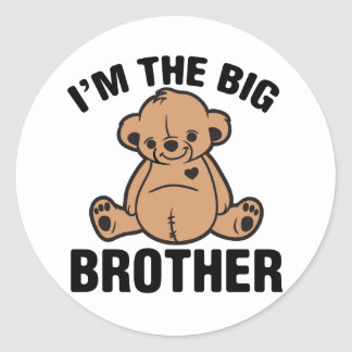 I am the big brother round stickers