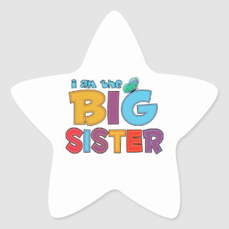 I am the Big Sister Butterfly Star Sticker