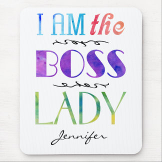I Am The Boss Lady Women's Typography Personalized Mouse Mat
