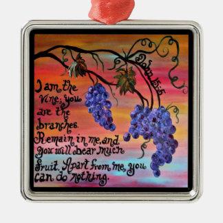 I am the Vine John 15 5 Silver-Colored Square Decoration