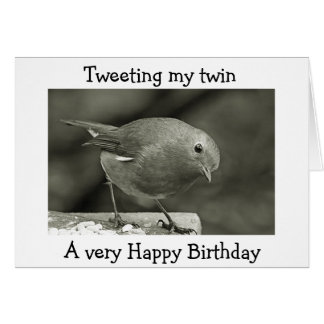 I AM TWEETING MY TWIN HAPPY BIRTHDAY CARD