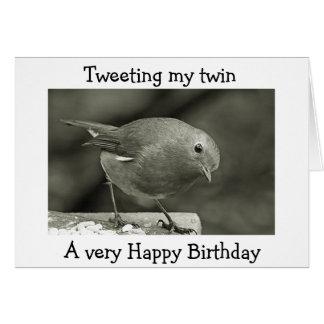 I AM TWEETING MY TWIN HAPPY BIRTHDAY GREETING CARD