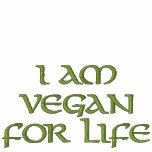 I Am Vegan For Life. Green on White. Slogan. Embroidered Ladies Zipped Hoodie