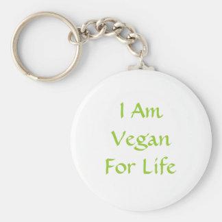 I Am Vegan For Life. Green. Slogan. Custom Basic Round Button Key Ring