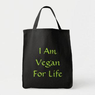 I Am Vegan For Life Green Slogan Custom Canvas Bag