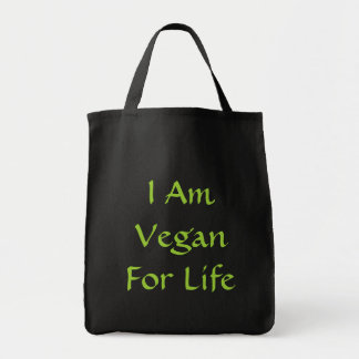 I Am Vegan For Life. Green. Slogan. Custom Tote Bag