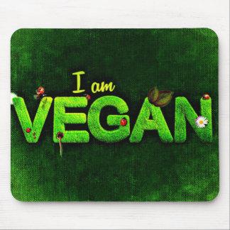 I Am Vegan Written With A Grassy Nature Texture Mouse Mat