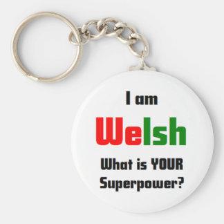 i am welsh basic round button key ring