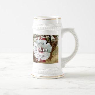 I Am Who I Am Says I Am Steins - White Flower II Coffee Mug