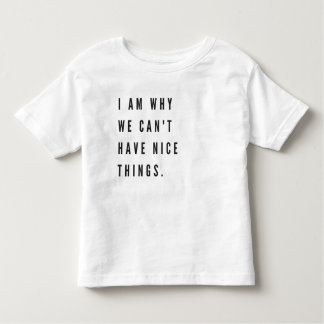 I am why we can't have nice things toddler t-shirt