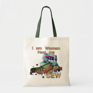 I Am Woman Hear Me Sew Sewing Tote Canvas Bag