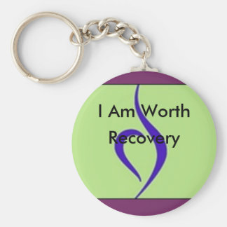 I Am Worth Recovery Basic Round Button Key Ring