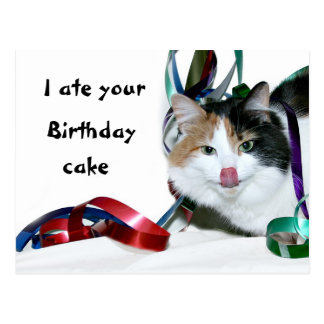 I ate your birthday cake postcard