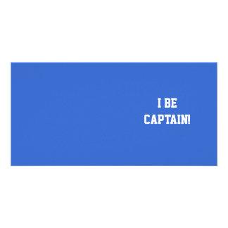 I Be Captain. Blue and White. Custom Photo Card