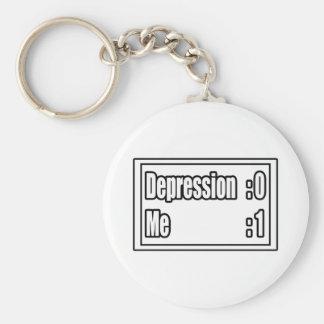 I Beat Depression (Scoreboard) Basic Round Button Key Ring