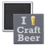 I [beer] Craft Beer Square Magnet