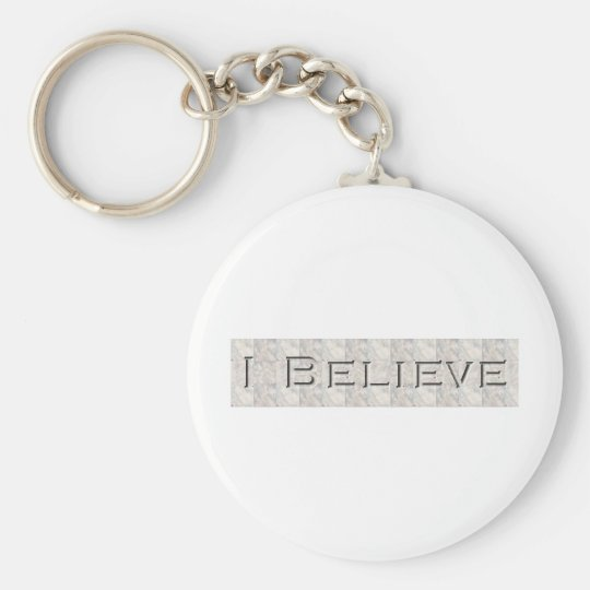 i believe basic round button key ring