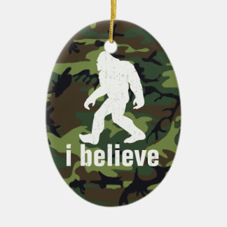 I Believe - Bigfoot with Forest Green Camo Christmas Ornament