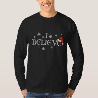 I Believe Christmas shirt snowflakes and Santa hat