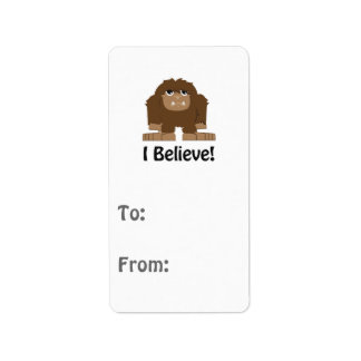 I Believe! Cute bigfoot Address Label