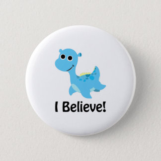 I Believe! Cute Blue Nessie 6 Cm Round Badge