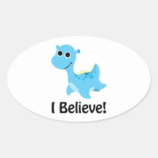 I Believe! Cute Blue Nessie Oval Stickers