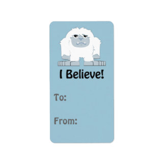 I Believe! Cute Yeti Address Label