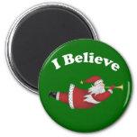 I Believe Flying Santa Refrigerator Magnet