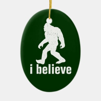 I Believe - green and white Christmas Ornament