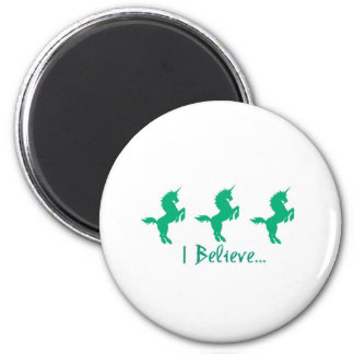 I Believe Green Unicorn Design 6 Cm Round Magnet