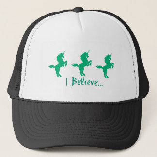 I Believe Green Unicorn Design Trucker Hat