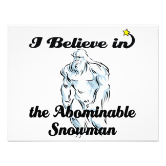 i believe in abominable snowman personalized announcements