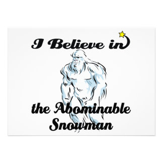 i believe in abominable snowman invitations