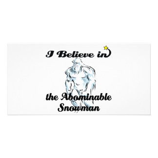 i believe in abominable snowman personalized photo card