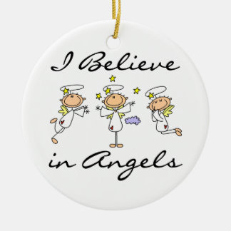 I Believe in Angels T-shirts and Gifts Round Ceramic Decoration