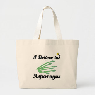 i believe in asparagus large tote bag