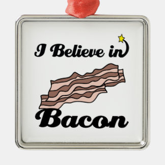 i believe in bacon Silver-Colored square decoration