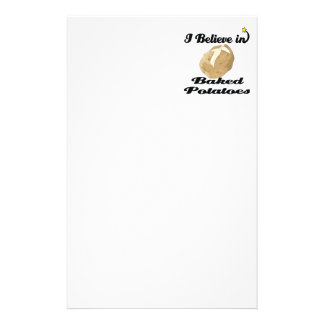i believe in baked potatoes custom stationery