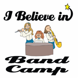 i believe in band camp standing photo sculpture
