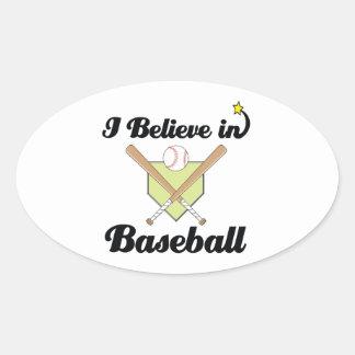 i believe in baseball oval sticker